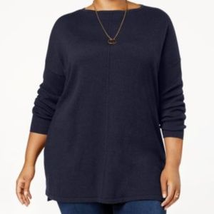 Style&Co Sweater Women Seamed Boat Neck Stretch